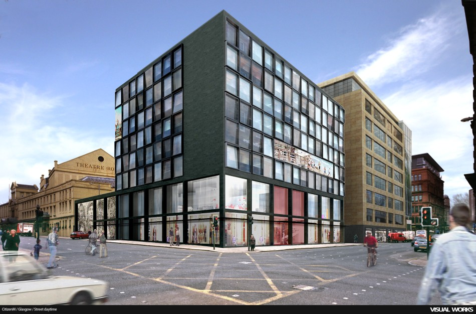 Another citizenm hotel in glasgow visual works for Design hotel glasgow